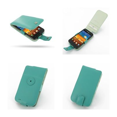 PDair Leather Case for Samsung Galaxy S II Epic 4G Touch SPH-D710 - Flip Type (Aqua)