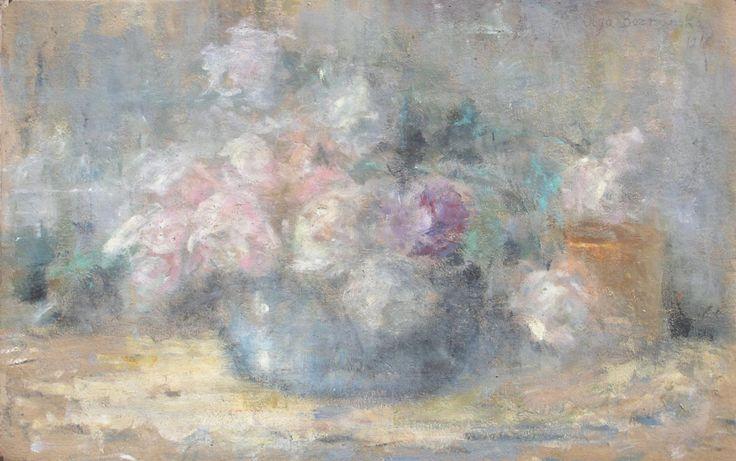 Olga BOZNAŃSKA ,Róże białe i różowe w błękitnej wazie, 1916 , olej, tektura, 30 x 47 cm