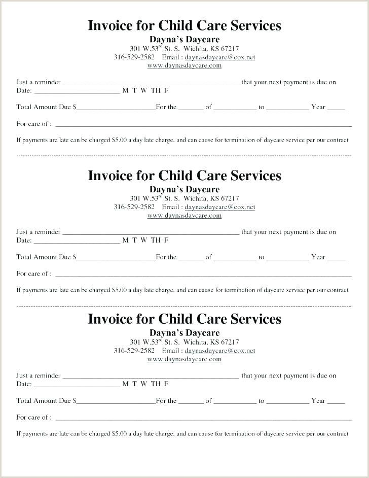 Babysitter Letter Of Payment Daycare Forms Childcare Invoice Template