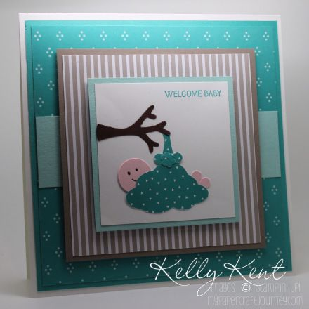 "New punch in 2015-16 Annual Stampin' Up! catalogue - ""Tree Builder Punch"".  Not just for trees.  Make this cute baby in a bundle using the tree builder punch.  Instructions provided.  Kelly Kent - mypapercraftjourney.com."