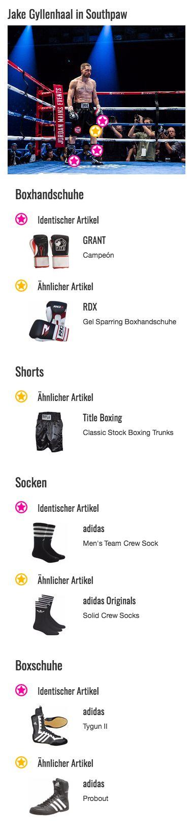 Bei seinen Wettkampfhandschuhen setzt Boxer Billy Hope (Jake Gyllenhaal) auf Qualität: Die Boxhandschuhe der Marke GRANT sind bekannt für ihre schlagenden Argumente und handfesten Eigenschaften. So unterstützten sie die harten Schläge des Weltmeisters. Auch farblich ergänzen sie durch ihren Schwarz-Weiß-Kontrast und den roten Streifen hervorragend das gesamten Outfit.