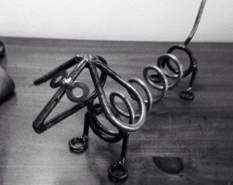 Mini weiner dog metal sculpture yard  art garden decor