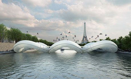 New idea of a bouncy bridge accross the Seine in Paris (courtesy of Atelier Zundel Cristea)