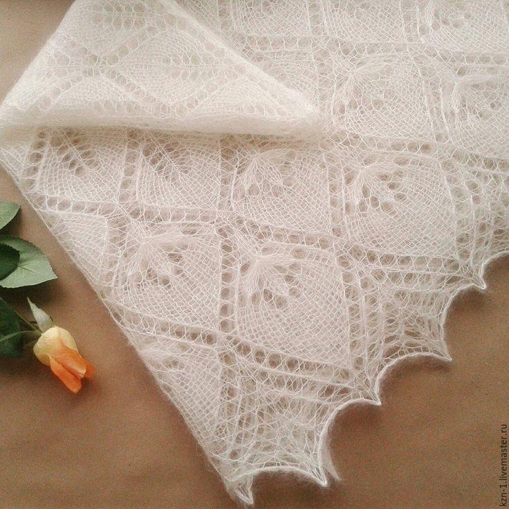Купить Вязаная ажурная шаль из кид мохера с шелком Свадебные цветы - свадебная шаль, пуховая