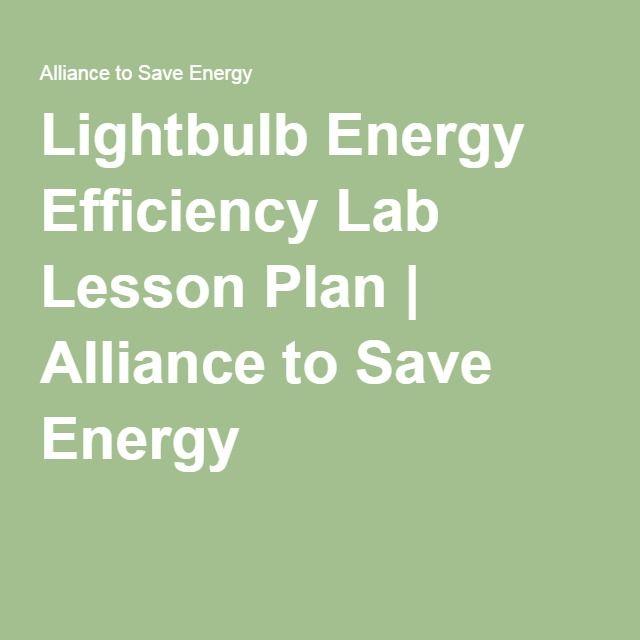 Lightbulb Energy Efficiency Lab Lesson Plan Alliance to Save