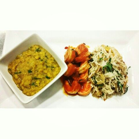 Eastern tadka dal,shrimp masala and green mango rice