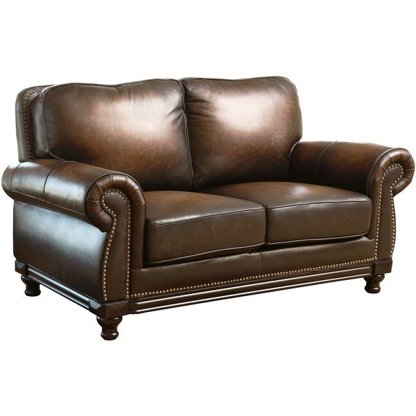 Abbyson Living Palermo Hand-rubbed Brown Leather Loveseat featuring polyvore, home, furniture, sofas, brown, oversized sofa, colored leather sofas, leather love seat, nailhead leather sofa and nailhead trim leather sofa
