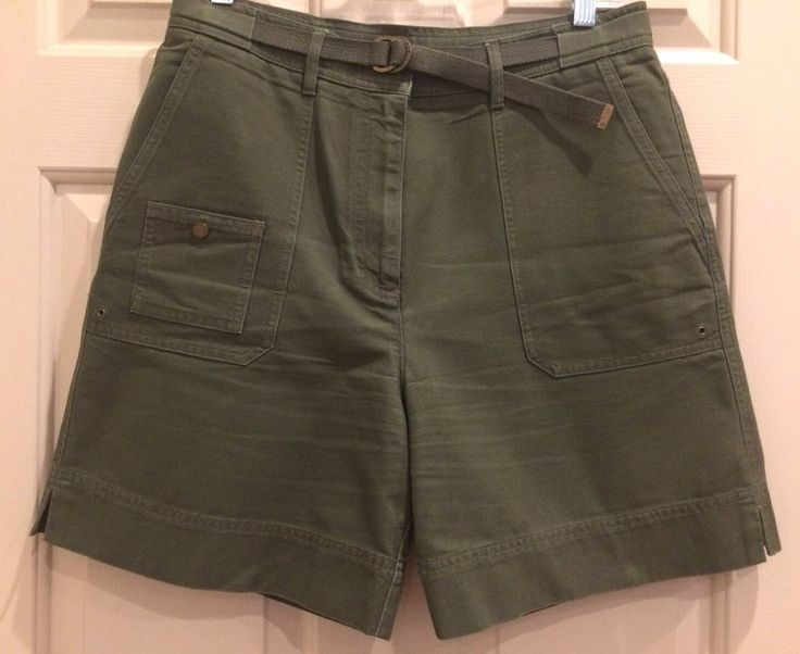 Ralph Lauren Women's Belted Khaki Olive Green Shorts 100% Cotton Size 10 #LaurenbyRalphLauren #CasualShorts