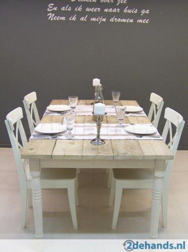 steigerhouten tafel woonkamer