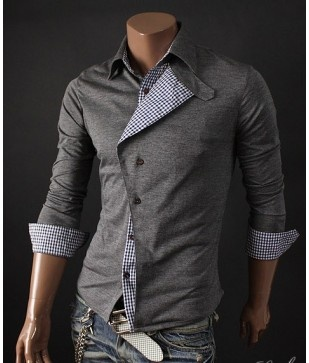 Contrast Foldover Button Up. Available in XS-M.