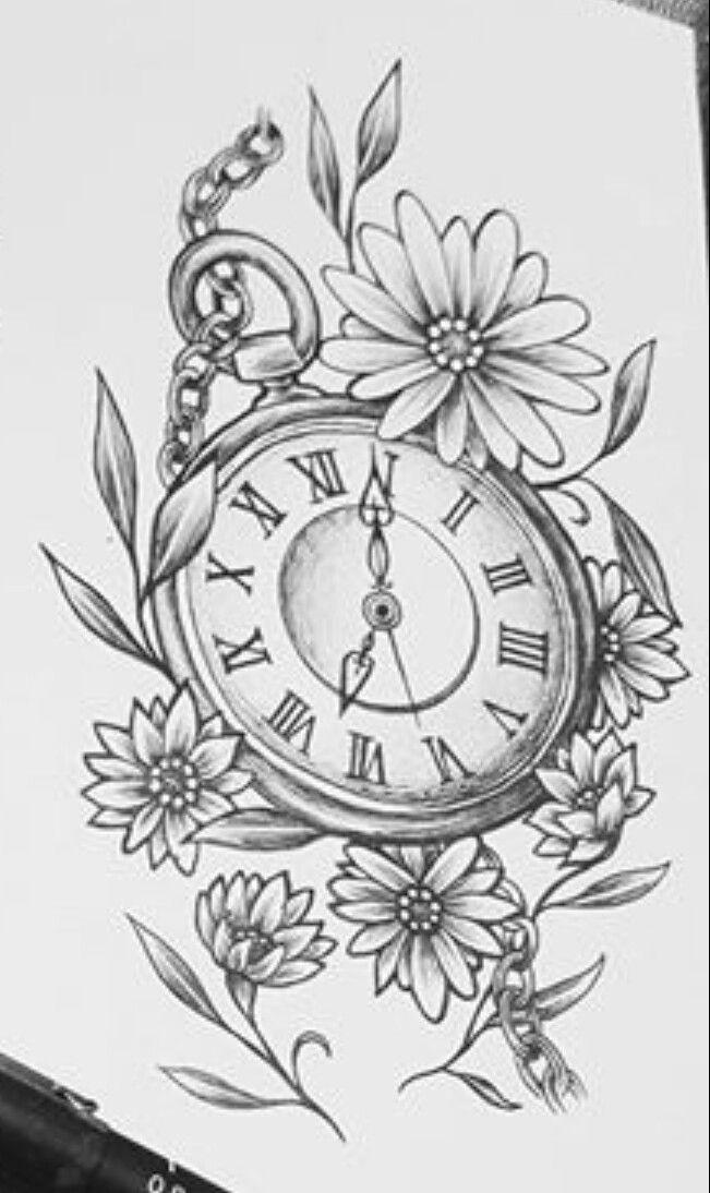Pocket watch tattoo stencil