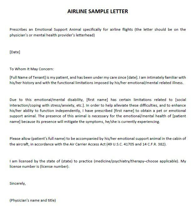 Sample Letter From Doctor To Airline Emotional Support Dog Service Dogs Emotional Support Animal
