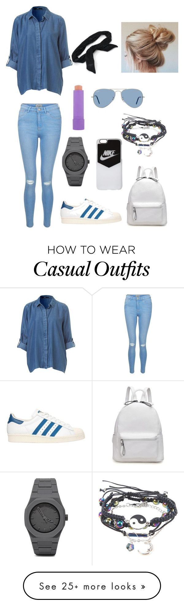 Casual. by annayagerber on Polyvore featuring New Look, adidas Originals, Ray-Ban, NIKE, Maybelline, CC and Candies
