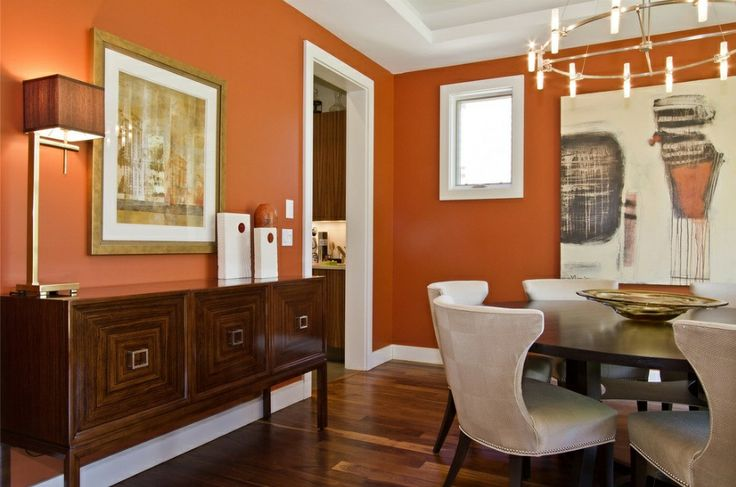 Burnt orange dining room earth tones contemporary