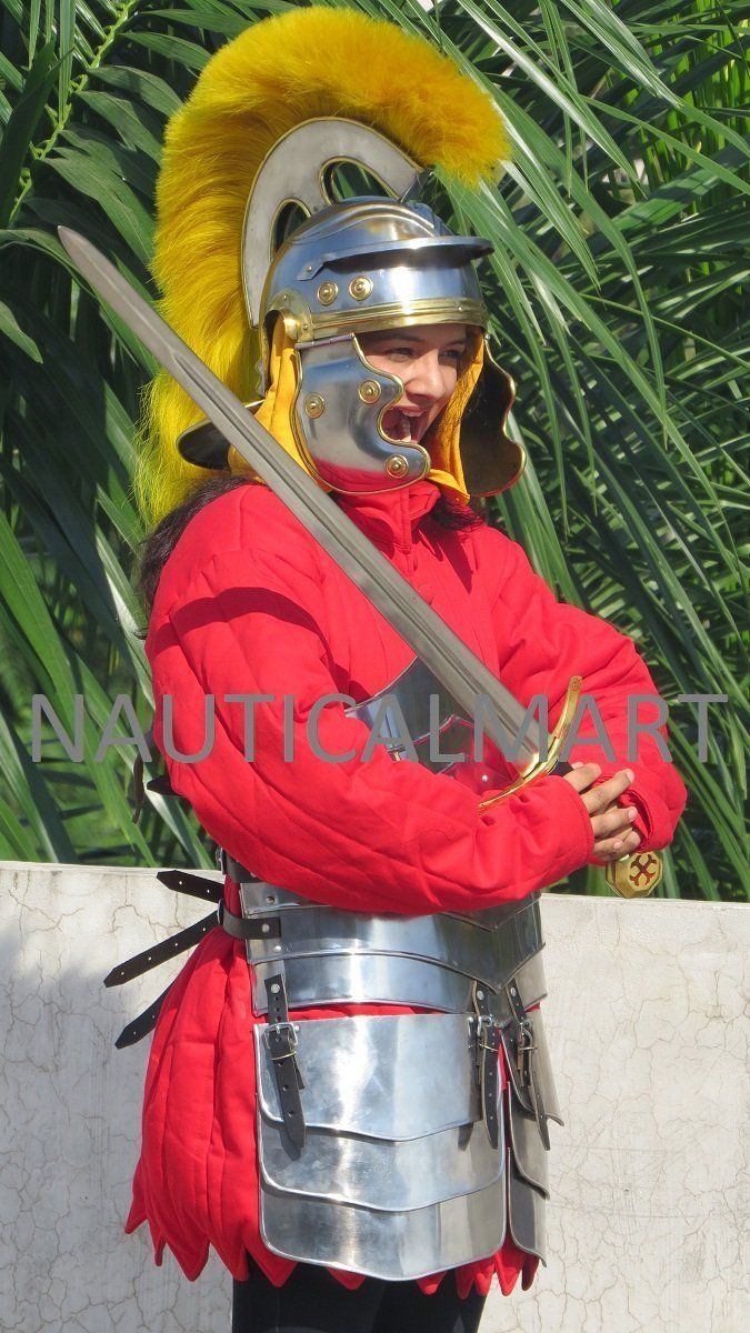 KNIGHT LADY GERMAN GOTHIC MEDIEVAL ARMOR SET WITH RED COTTON GAMBESON AND CENTURION HELMET WITH COTTON CAP: Amazon.co.uk: Toys & Games