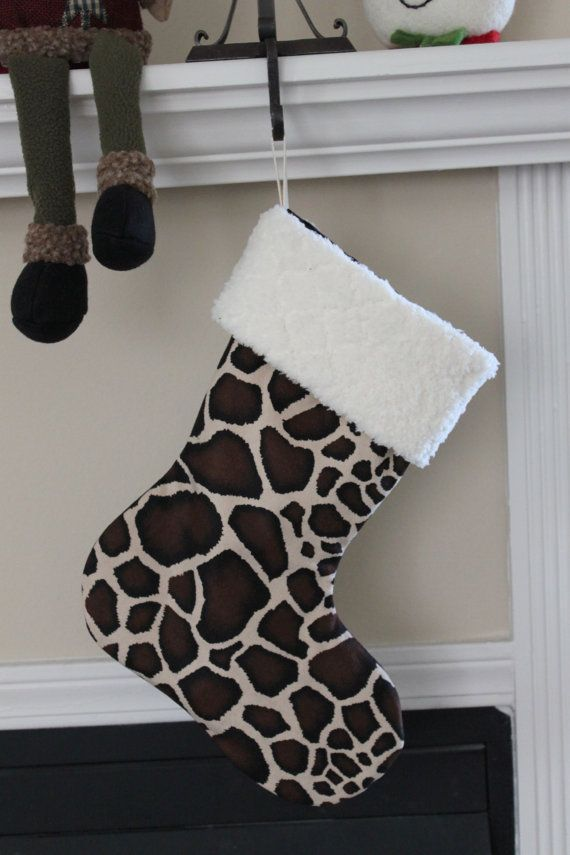 Hey, I found this really awesome Etsy listing at https://www.etsy.com/listing/164216484/giraffe-print-christmas-stocking-with