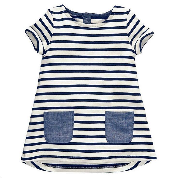 2017 New Brand  2-7 Years Girls Short Sleeve Blue Stripe Summer Dress Cotton Casual Dresses Kids Clothing KF047