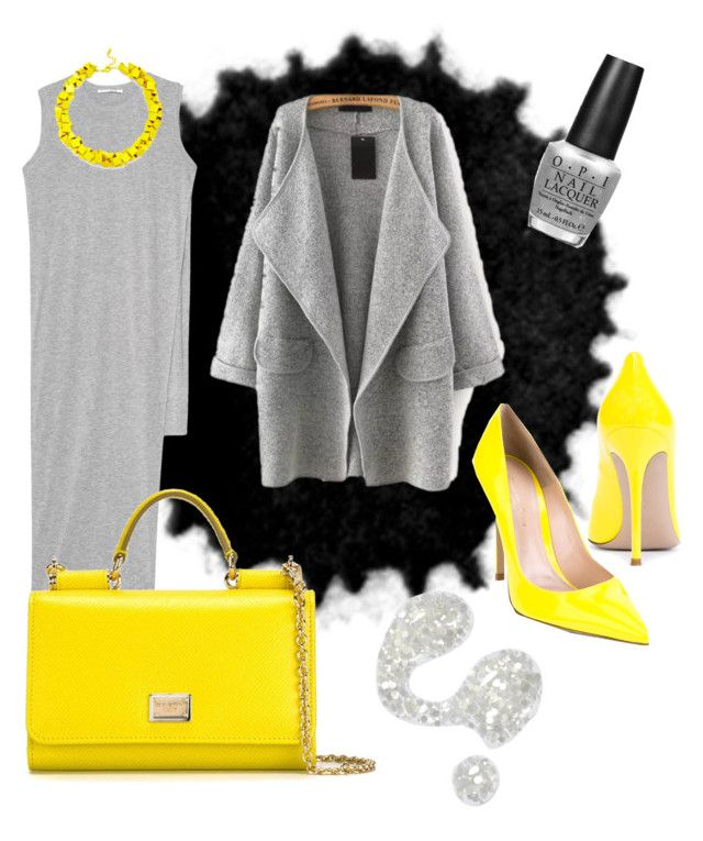 """""""Gray/Fluo"""" by renicherie on Polyvore featuring Illamasqua, Acne Studios, Gianvito Rossi, Dolce&Gabbana, OPI, Slate & Willow, women's clothing, women, female and woman"""