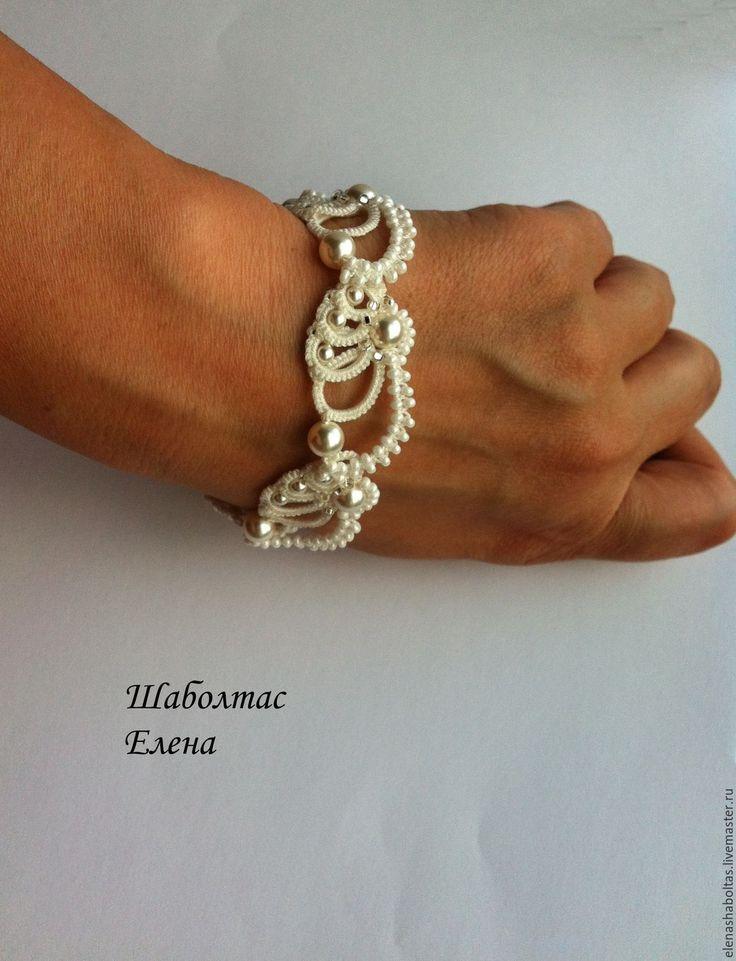 """Купить Свадебный браслет """"Крылышки"""" - белый, Браслет ручной работы, браслет на руку, свадебные аксессуары"""