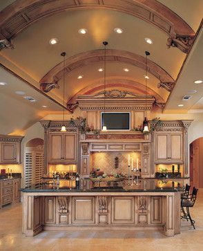 Traditional kitchen with great detail on the barrel ceiling.