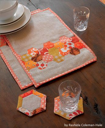 Hexagon Place Mats and Coasters by Rashida Coleman-Hale uses English Paper Piecing.