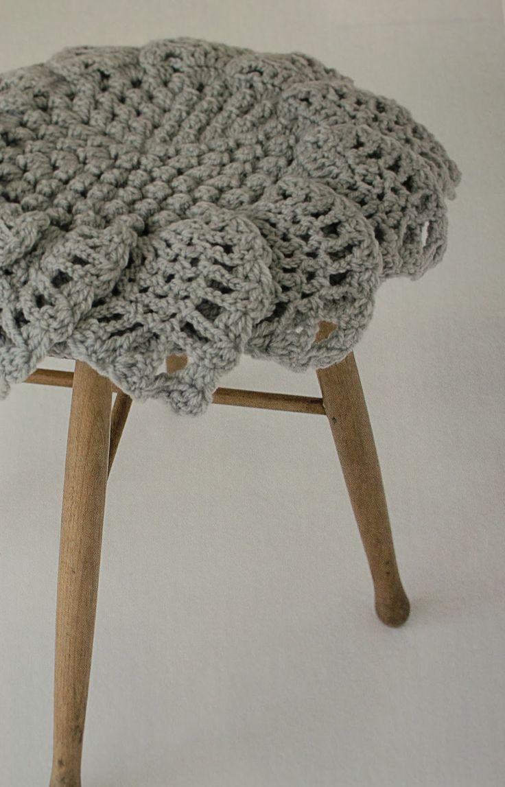 Crochet stool seat