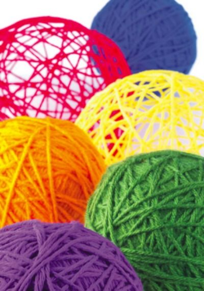 Check out these open air yarn balls -- these make great table top decor!
