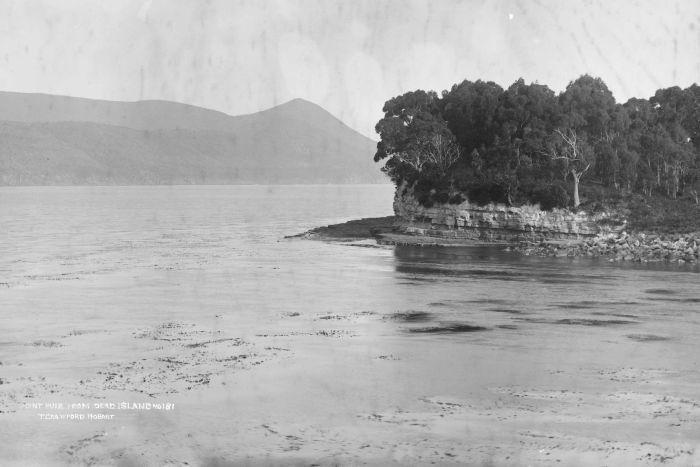 Point Puer taken from Isle of the Dead near Port Arthur in 1880.