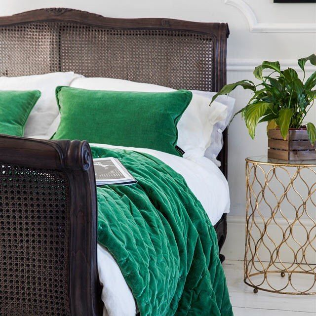 Hy Monday From Our Charcoal Rattan Bed Dd In Dreamy And Sumptuous Emerald Green Plushious Velvet Bedspread Cushions