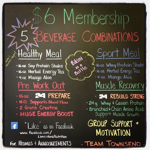 $6 Memberships!    -Healthy Meal Replacement Smootie, Energy Tea, and Aloe.  -Pre workout drink Herbalife 24 Prepare  -Post Workout drink Herbalife 24 Rebuild Strength  -Herbalife 24 Sport Meal Shake  -Bikini in a Bottle !! Yum!