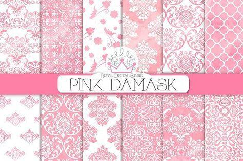 PINK DAMASK digital paper. Patterns