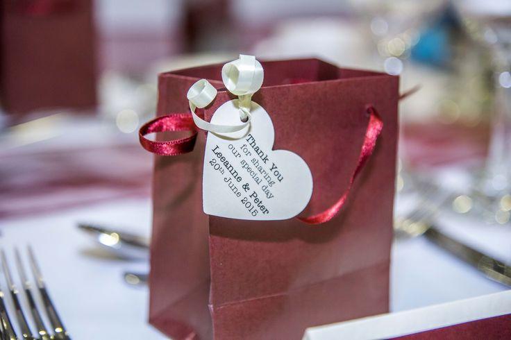 Lovely burgundy favour gift bag.