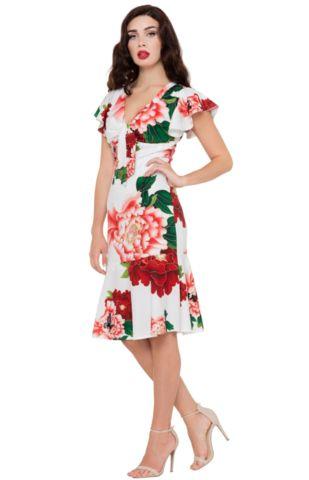Voodoo Vixen WHITE Floral Myrna Dress
