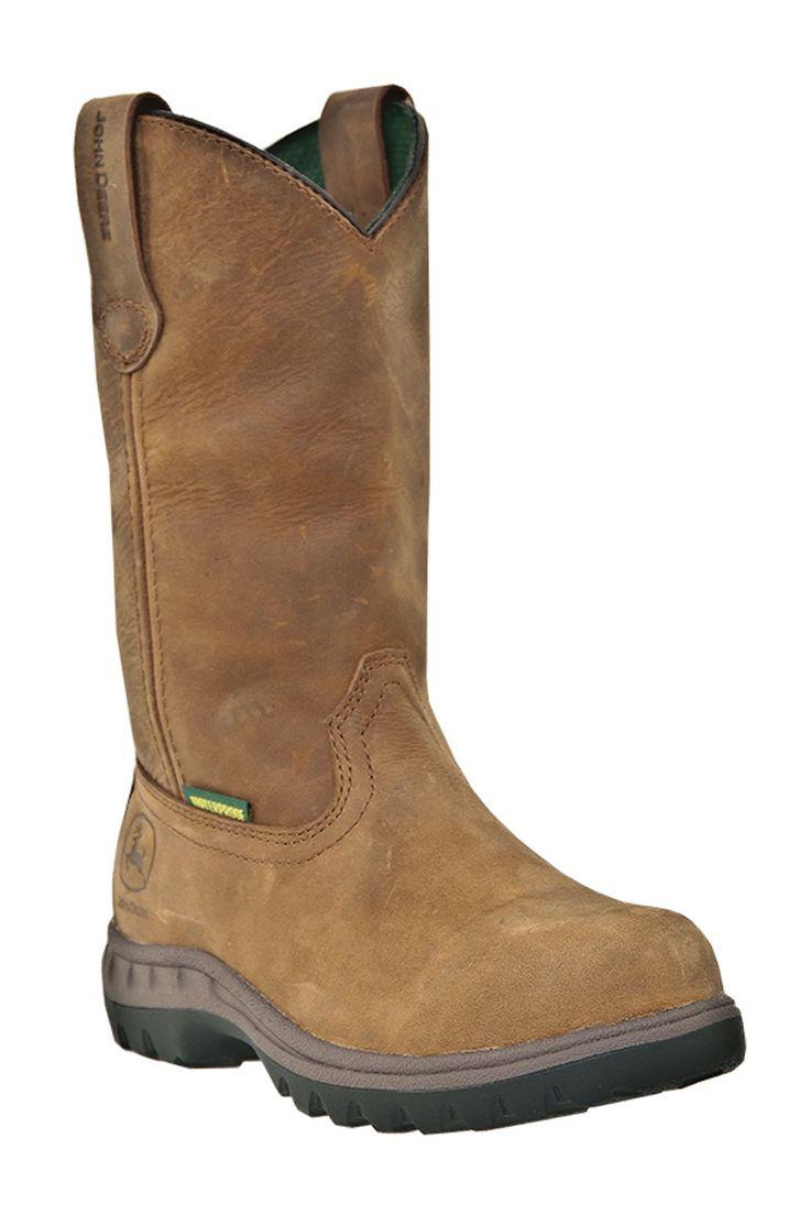 Women's John Deere Tramper Wellington Waterproof Steel Toe Cowgirl Work Boots - $45 OFF!