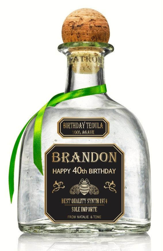 Personalized Gold Tequila Patron Labels 750 ml. by MAGICPRINTSHOP