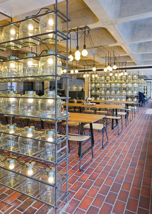 Barbican Foodhall - love the glass jar lighting dividers!Design Bedroom, Barbican Foodhal, Design Interiors, Architecture Interiors, Interiors Design, Restaurants Interiors, Industrial Restaurant, Jars Lights, Room Dividers
