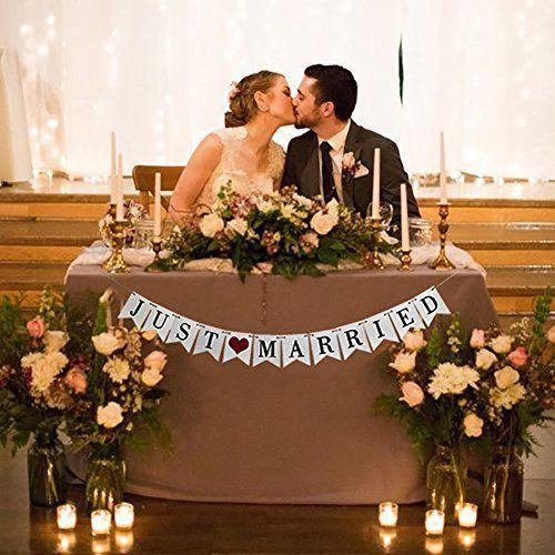 Vintage Just Married Banner Wedding Decor #WeddingBanner