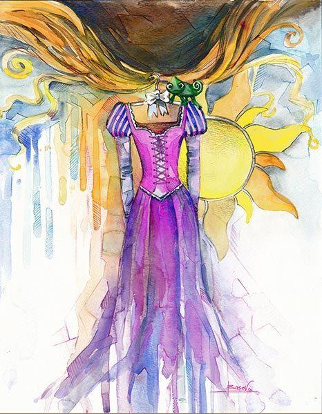disney art watercolor children art print rapunzel dress etsy kids
