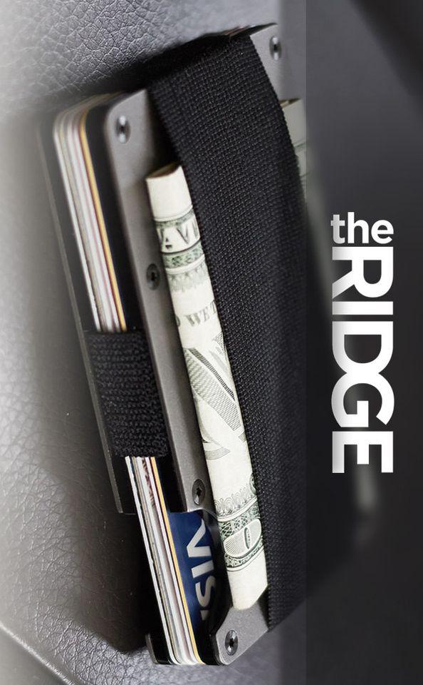 Ridge Wallet EDC Everyday Carry Minimalist CARBON FIBER WALLET + CASH STRAP in Carbon Fiber