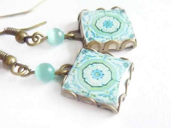 Pendientes azulejo: Mint / Dianthusa - Paris - Artesanio