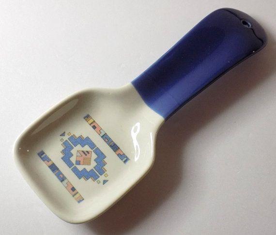 90s Southwestern Spoon Rest Ceramic Otagiri by TimeEnoughAtLast