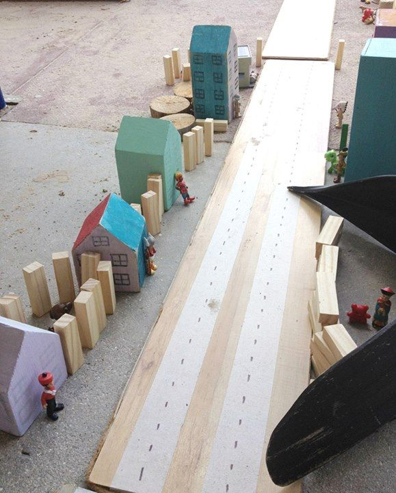 """A streetscape created with loose parts & items from the construction area at St Helens District High School Kindergarten ("""",)"""