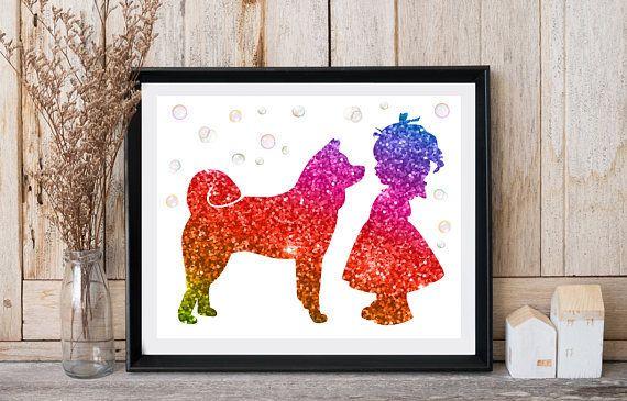 Akita art Girl baby room decor Dog print art Little girl with