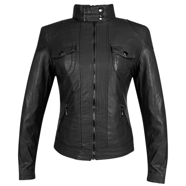 Aoxite Womens Maxim Black Casual Jacket - LeatherUp.com