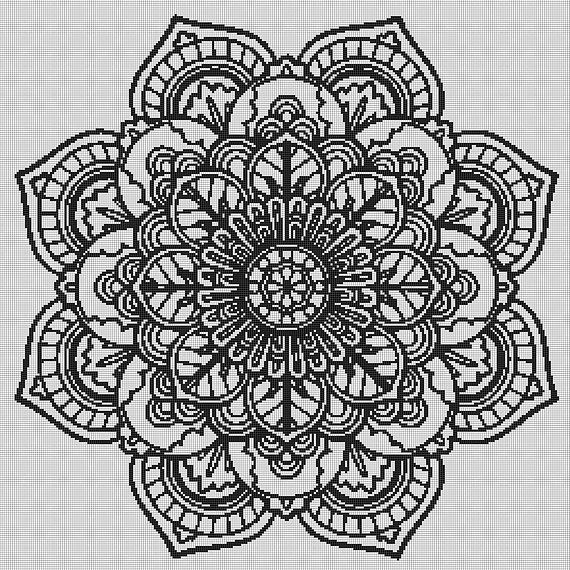 mandala cross stitch mandala wall art cross stitch pattern cross stitch pdf crossstitch. Black Bedroom Furniture Sets. Home Design Ideas