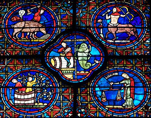 Vidriera del Zodiaco, Chartres by Paco Barranco, via Flickr