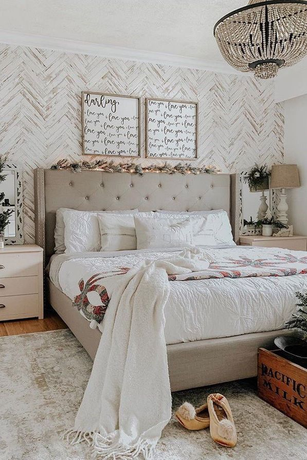 Herringbone Wood Wallpaper Farmhouse Wallpaper Wood Etsy Master Bedrooms Decor Rustic Master Bedroom Bedroom Design