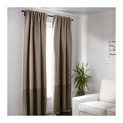 IKEA - MARJUN, Block-out curtains, 1 pair, , The curtains prevent most light from entering and provide privacy by blocking the view into the room from outside.Effective at keeping out both draughts in the winter and heat in the summer.The curtains can be used on a curtain rod or a curtain track.The heading tape makes it easy for you to create pleats using RIKTIG curtain hooks.You can hang the curtains on a curtain rod through the hidden tabs or with rings and hooks.