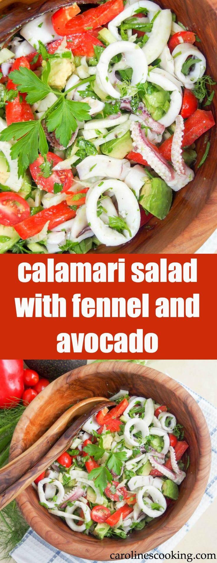 calamari salad with fennel and avocado