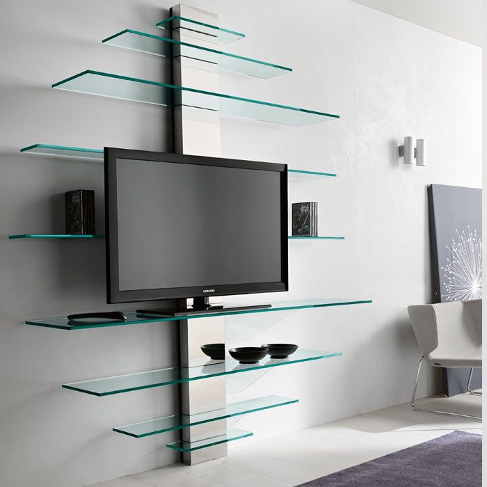 Glass shelf unit living room